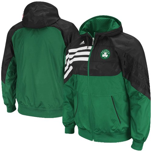 adidas Boston Celtics Green-Black On-Court Pregame Full Zip Hoodie Jacket (X-Large) at Amazon.com