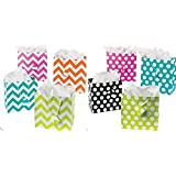 Gift Bag Assortment - 12 Assorted Size Bright Gift Bags (assorted polka dot and chevron mix)