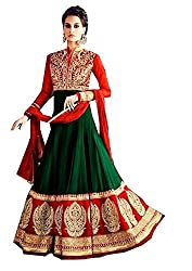 Charming Red and Green Heavy Embroidery work Anarkali Suit with Dupatta