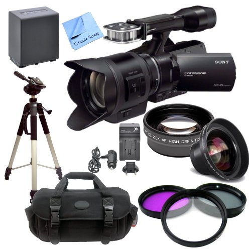 Sony Nex-Vg30 Camcorder With 18-200Mm F/3.5-6.3 Power Zoom Lens With Cs Pro Kit: Includes 2 Replacement Batteries, Rapid Travel Charger, Wide Angle & Telephoto Lenses, Filters, Case, Tripod & Cs Microfiber Cleaning Cloth
