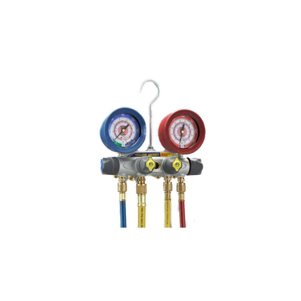 Yellow Jacket 46003 Brute II Test and Charging Manifold, F/C, Red/Blue Gauge, bar/psi, R 410A