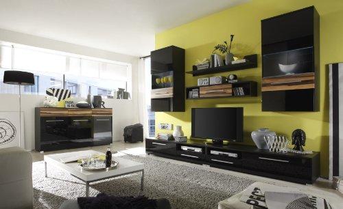 Wohnwand mit Sideboard schwarz