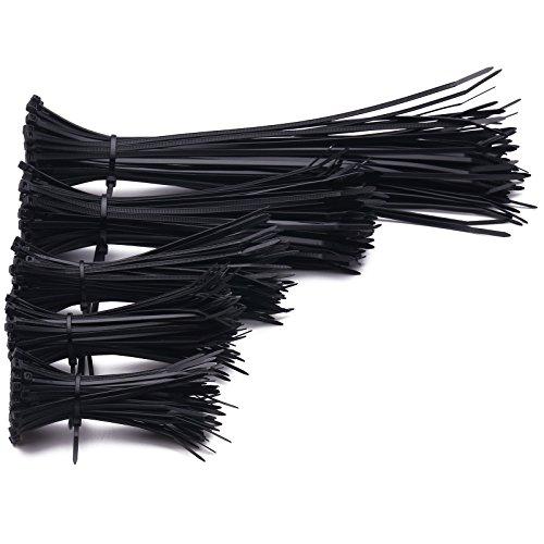 Confezione Fascette Stringicavo da 500 Pezzi - 80 mm / 120 mm / 150 mm / 200 mm / 300 mm (100 Unità per Dimensione) in Colore Nero