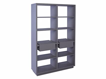 Modern Matt Stone Grey Bookcase Shelving Unit with Twin Drawers - Marlow STONE With STONE Accent