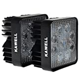 Kawell®  Pack of 2 27w Square LED lighting 12v 30 Degree Spot Beam Off Road Spotlight 4x4-Jeep Cabin/boat/suv/truck/car/atvs