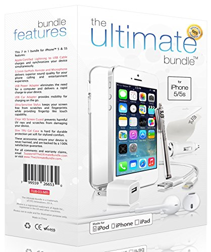 ★ The Ultimate Bundle For Iphone 5/5S ★- 7 In 1 Accessory Kit - White - Mfi Apple-Certified - Gift Packaging Includes: 3Ft Apple Certified Lightning Cable, Wall Charger, Car Charger, 3.5Mm Earbuds Headset With Remote And Mic, Clear Hd Screen Protector W/
