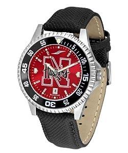 Nebraska Cornhuskers Mens Leather Wristwatch by SunTime