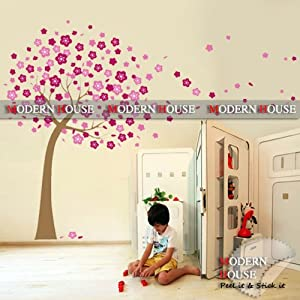 Modern House Wall Decor Removable Decal Sticker - Cherry Blossom Tree in Wind by Wall decor