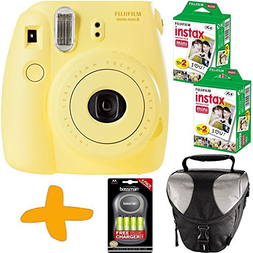 Bundle: Fuji Instax Mini 8 Yellow Instant Film Camera + Case + 40 Shots + Uniross NiMh Batteries & Charger (Take... Black Friday & Cyber Monday 2014
