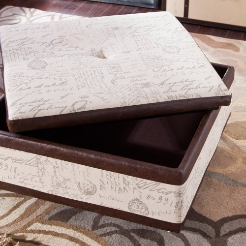 Corbett leather and linen coffee table storage ottoman Linen ottoman coffee table