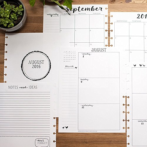 2017 Weekly and Monthly Calendar for Disc-Bound Planner, Letter Size, Fits Circa, Large Happy Planner, Arc, 8.5