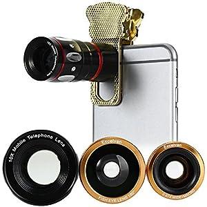 Excelvan スマホカメラレンズキット ユニバーサルレンズ 魚眼レンズ マクロレンズ 望遠レンズ ワイドレンズ 装着便利なクリップ式 iphone6/iphone6 plus/iphone5s/iphone5/ipad/Androidなど対応 (ゴールデン)