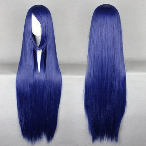 Topbill Anime Long Straight Dark Blue Cosplay Wigs