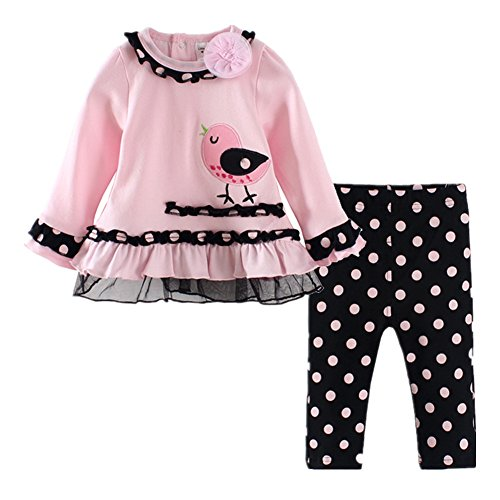 LittleSpring Baby Girls' Pants Set Little Bird Size 18M Pink