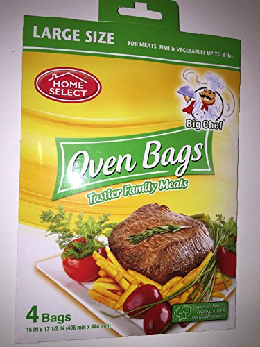 Home Select Oven Bags Large Size (16 Inch x 17.5 Inch) 4 Bags; for Meats, Fish & Vegetables up to 8 lbs (Oven Fish compare prices)