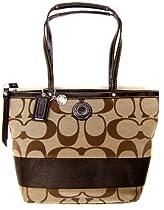 Hot Sale Coach Signature Stripe Lunch Shopper Bag Purse Tote 19046 Khaki Mahogany