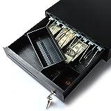 Cash Register, AGPtek Electronic Heavy-Duty Register Drawer,RJ11 Phone-Jack Pos Cash Drawer Under Counter with Key-Lock, 4 Bill/2Coin for American Standard,1 Removeble Check/Bill Slot (Color: Black, Tamaño: 15 x 13 x 3 inch)