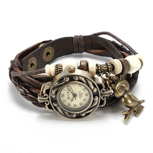 Lxlmall Watch Bracelet Owl Leather Braided Quartz Retro Jewelry Woman Watch Brown