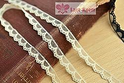 1cm Half moon soft White lace 10 meter high quality DIY lace trim dress lace fabric (Apricot color)