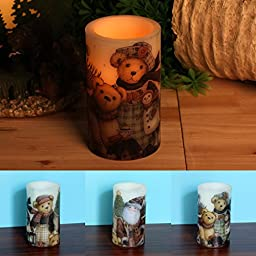 Home Impressions 3x5 Inches Lovely Bear Decal Flameless Led Pillar Pillar Candle light with Timer,Battery Operated