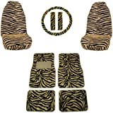 51V%2BuxYBqaL. SL160  Front & Rear Floor Mats, High Back Seat Covers Interior Auto Accessories Combo Set   9 Piece Safari Tan Zebra