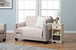 Adalyn Collection Deluxe Reversible Quilted Furniture Protector. Beautiful Print on One Side / Solid Color on the Other for Two Fresh Looks. By Home Fashion Designs. (Loveseat, Taupe)