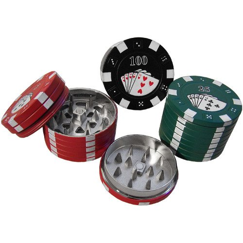 POKER CHIP HERB GRINDER 3PCS ASSORTED COLORS PACK OF 1 (Weed Grinder Poker Chip compare prices)
