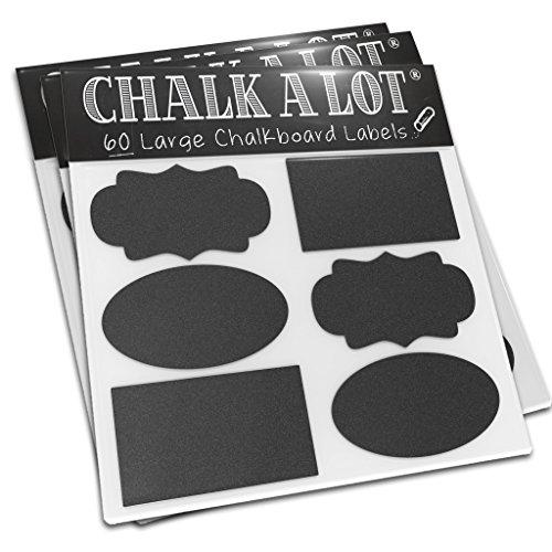 [Top Rated Chalkboard Labels] 60 Vinyl Blackboard Stickers (3.5