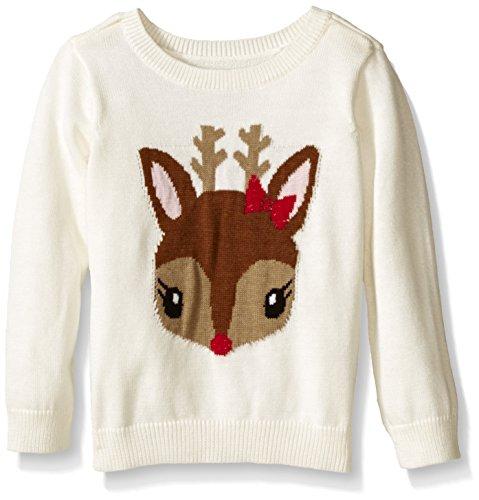 The Children's Place Baby-Girls E Reindeer Sweater, Cloud, 12-18 Months