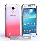 Yousave Accessories Raindrop Hard Cover For Samsung Galaxy S4 Mini - Baby Pink/Clear