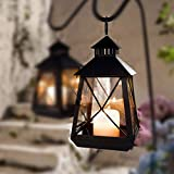 Large Black Stagecoach Lantern - Metal And Glass Hanging Candle Lantern Product SKU: CL229312 By PSW - Candle Lanterns & Holders