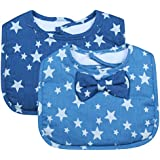 Blue Star Bowtie Baby Feeding Bib From Frenchie Mini Couture (Pack Of 2)