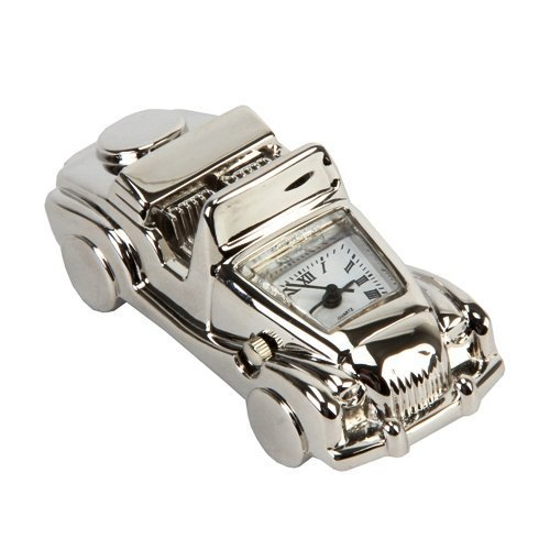 Miniature Classic Convertible Car Novelty Silver Tone Collectors Clock 9742
