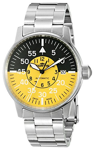 Fortis-Mens-5951114-M-Flieger-Cockpit-Yellow-Analog-Display-Automatic-Self-Wind-Silver-Watch