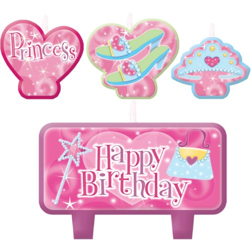 "Amscan Charming Princess Design Character Themed Candle Set, Pink/Dark Pin/White, 2.3"" x 3.25"" - 1"