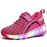 VMATE LED Light Up Blink Single Wheel Roller Skate Shoes Fashion Sports Flashing Sneaker Boys Girls Kid (Pink, 033)
