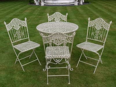 French ornate cream wrought iron metal garden table and - French style bistro table and chairs ...