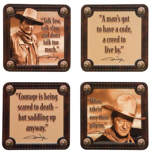 Vandor 15085 John Wayne 4-Piece Wood Coaster Set, Multicolored