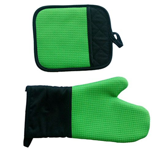 Durable Oven Mitts Pot Holders VANORIG® Silicone Oven Gloves Cooking Gloves Pothloder BBQ Gloves Heat Resistant Gloves Mitts Pot Holders & Oven Mitts ,Set of 2 (Pot Holders And Oven Mitts Sets compare prices)