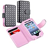 eForCity® Wallet Leather Case compatible with Apple® iPhone® 4 / 4S, Black / Pink Dot