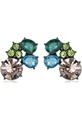 """Betsey Johnson """"Butterfly Effect"""" Mixed Faceted Stone Cluster Button Stud Earrings"""
