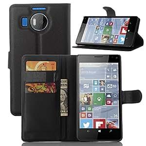 Excelsior Premium Leather Wallet Flip Cover Case For Nokia Lumia 950XL - Black