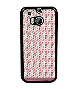 PrintDhaba Zig Zag Pattern D-1698 Back Case Cover for HTC ONE M8 (Multi-Coloured)