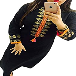 Kesu Fahion Women's Embroidered semi-stitched Selfie Kurti In Georgette Fabric (KUKRT1007_Free Size_Black)