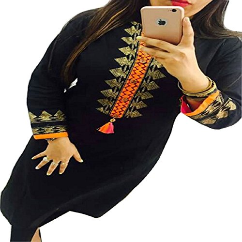 Kesu-Fahion-Womens-Embroidered-semi-stitched-Selfie-Kurti-In-Georgette-Fabric-KUKRT1007Free-SizeBlack