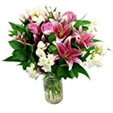 Clare Florist Cascade Fresh Flower Bouquet - Lovely Pink Lilies and Roses with White Freesia