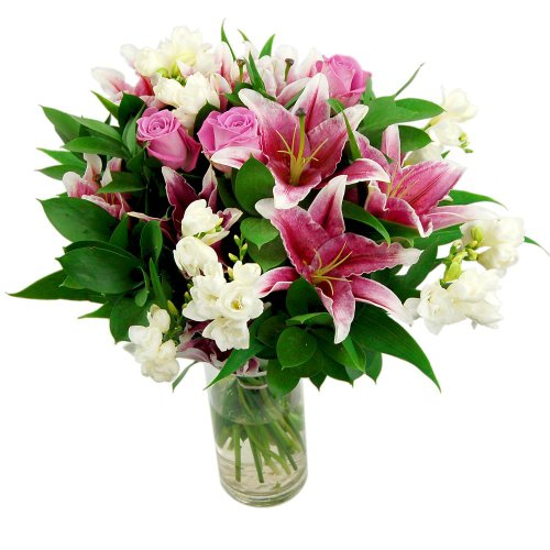 clare-florist-cascade-fresh-flower-bouquet-lovely-pink-lilies-and-roses-with-white-freesia