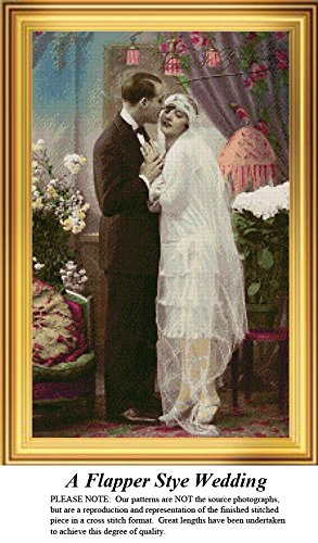 A Flapper Style Wedding, Vintage Counted Cross Stitch Pattern (Pattern Only, You Provide the Floss and Fabric)