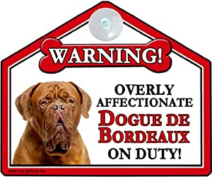 DOGUE DE BORDEAUX 'Sucker' Dog Car Suction Sign (for car, caravan or house windows)