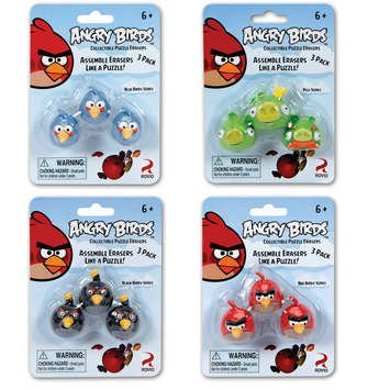 Angry Birds Puzzle Erasers - 3 Pack Assorted Styles - 1